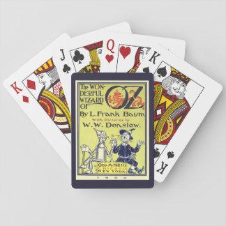 Art vintage de couverture de livre de magicien cartes à jouer