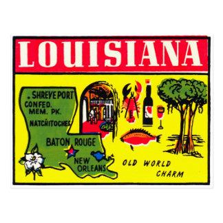Art vintage de décalque de kitsch de la Louisiane Carte Postale