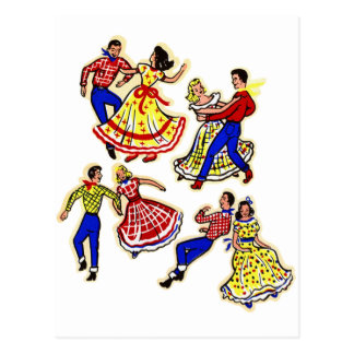 Art vintage de décalque des danseurs carrés 60s de carte postale