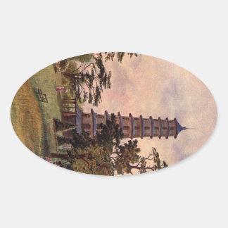 Art vintage de jardin - Martin, faucheur de Thomas Sticker Ovale