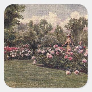 Art vintage de jardin - Martin, faucheur de Thomas Sticker Carré