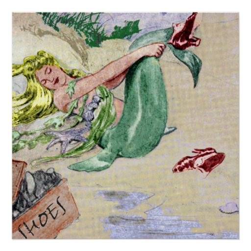 Art vintage de mur d'affiche de sirène