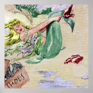 Art vintage de mur d'affiche de sirène posters