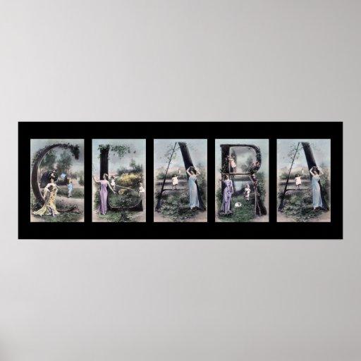 Art vintage de nom de lettre d'alphabet de CLARA Posters