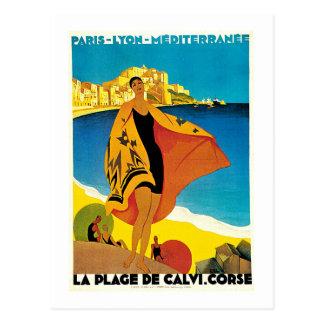 Art vintage de voyage de la plage De Calvi France Carte Postale