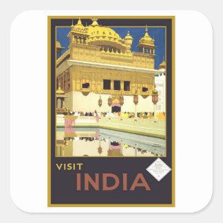 Art vintage de voyage de l'Inde de visite Autocollant Carré