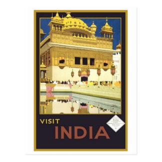Art vintage de voyage de l'Inde de visite Cartes Postales