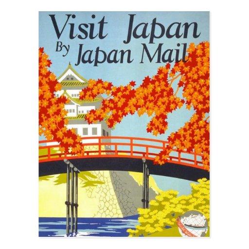 Art vintage de voyage du Japon de visite Carte Postale