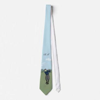 Art vintage décoré d'un monogramme de golf de cravates