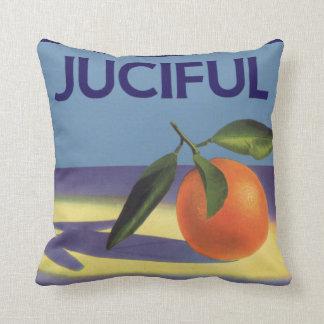 Art vintage d'étiquette de caisse de fruit, coussin
