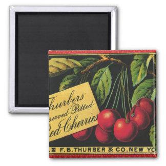 Art vintage d'étiquette de caisse de fruit, magnet carré