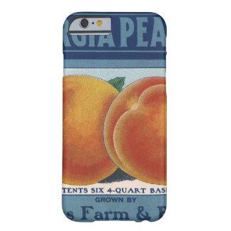 Art vintage d'étiquette de caisse de fruit, pêches coque barely there iPhone 6