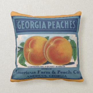 Art vintage d'étiquette de caisse de fruit, pêches coussin