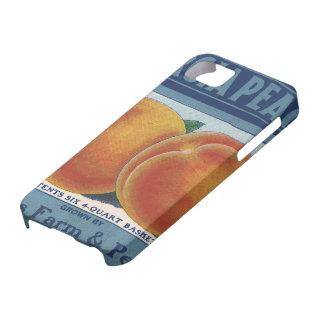 Art vintage d'étiquette de caisse de fruit, pêches iPhone 5 case