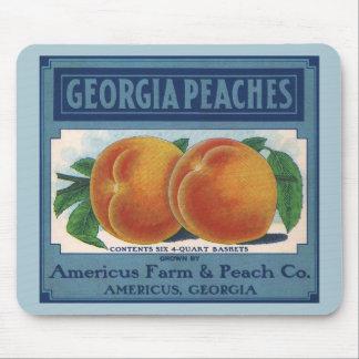 Art vintage d'étiquette de caisse de fruit, pêches tapis de souris