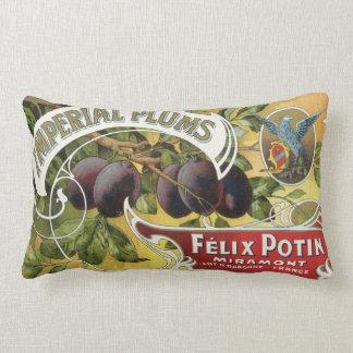 Art vintage d'étiquette de caisse de fruit, prunes coussin rectangle