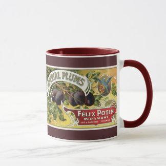 Art vintage d'étiquette de caisse de fruit, prunes mugs