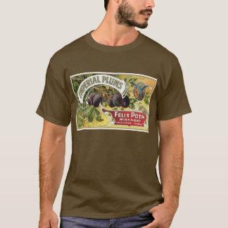 Art vintage d'étiquette de caisse de fruit, prunes t-shirt