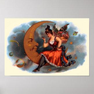 Art vintage d'étiquette de cigare, fée victorienne poster