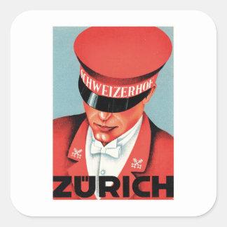 Art vintage d'étiquette de Zurich Suisse de voyage Sticker Carré