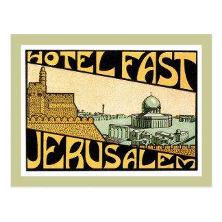 Art vintage d'étiquette d'hôtel de Jérusalem de Carte Postale
