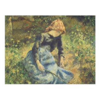 Art vintage d'impressionisme, bergère par Pissarro Carte Postale