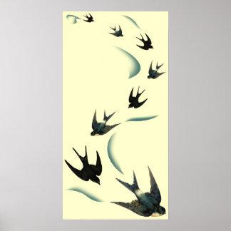 Art vintage d'oiseaux d'hirondelle poster