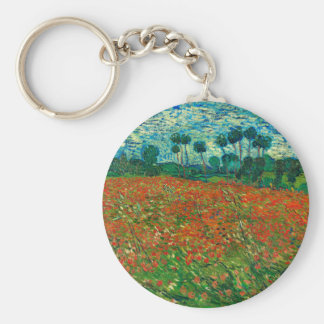Art vintage floral de champ de pavot de Vincent Porte-clé Rond