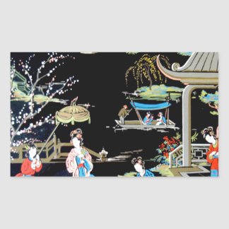 ART VINTAGE JAPONAIS STICKERS EN RECTANGLE