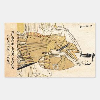 Art vintage japonais frais de tatouage de samouraï stickers en rectangle