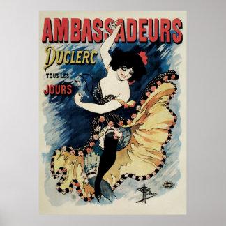 Art vintage Nouveau, danseur espagnol de flamenco Poster