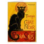 Art vintage Nouveau de chat noir de Le Chat Noir Carte De Vœux