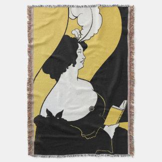 Art vintage Nouveau, femme lisant un livre jaune Couvre Pied De Lit