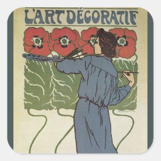 Art vintage Nouveau, fleurs de pavot de peinture Sticker Carré