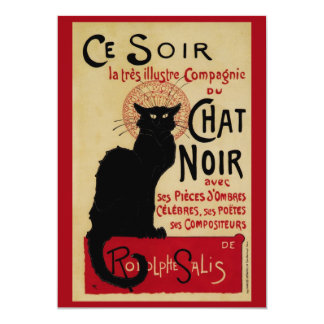 Art vintage Nouveau, Le Chat Noir Carton D'invitation 12,7 Cm X 17,78 Cm