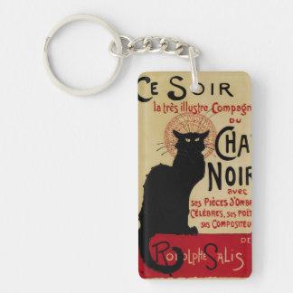 Art vintage Nouveau, Le Chat Noir Porte-clé Rectangulaire En Acrylique Double Face