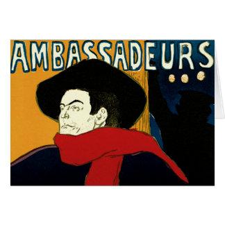 Art vintage Nouveau par Henri De Toulouse Lautrec Carte De Vœux