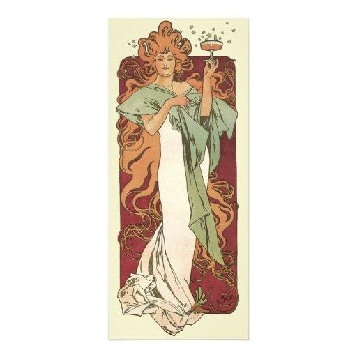 Art vintage Nouveau, partie de Champagne de femme Invitation