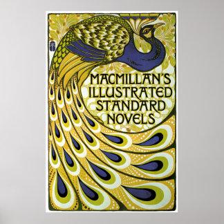 Art vintage Nouveau, plume du paon de Macmillan Posters