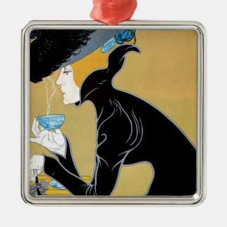 Art vintage Nouveau, thé de Madame Drinking Marco Ornement Carré Argenté