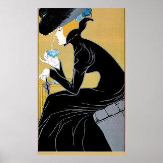Art vintage Nouveau, thé de Madame Drinking Marco Poster