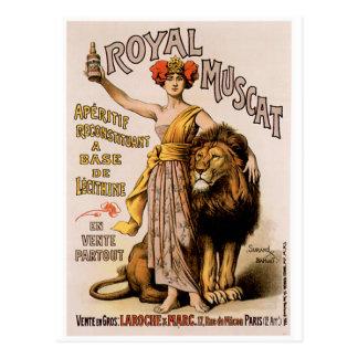 Art vintage royal d'annonce de boissons de vin de carte postale
