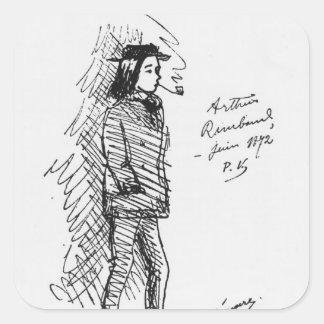 Arthur Rimbaud en juin 1872 Sticker Carré
