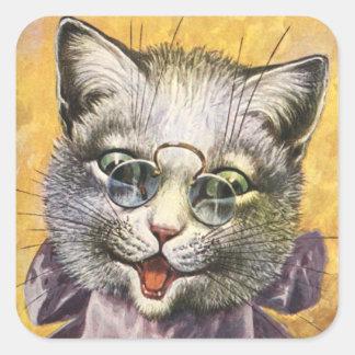 Arthur Thiele - chat femelle avec des verres Sticker Carré