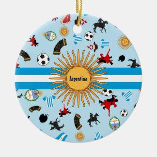 Articles de l'Argentine avec le drapeau à travers Ornement Rond En Céramique