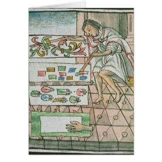 Artisan aztèque de plume carte de vœux
