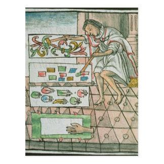 Artisan aztèque de plume carte postale