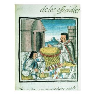 Artisans aztèques de plume au travail carte postale