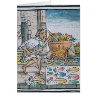 Artisans aztèques teignant des plumes carte de vœux