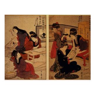 Artisans faisant une gravure sur bois, c.1857 carte postale